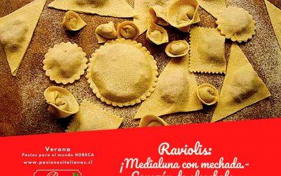 Raviolis: medialuna con mechada-corazón de alcachofas-4 quesos